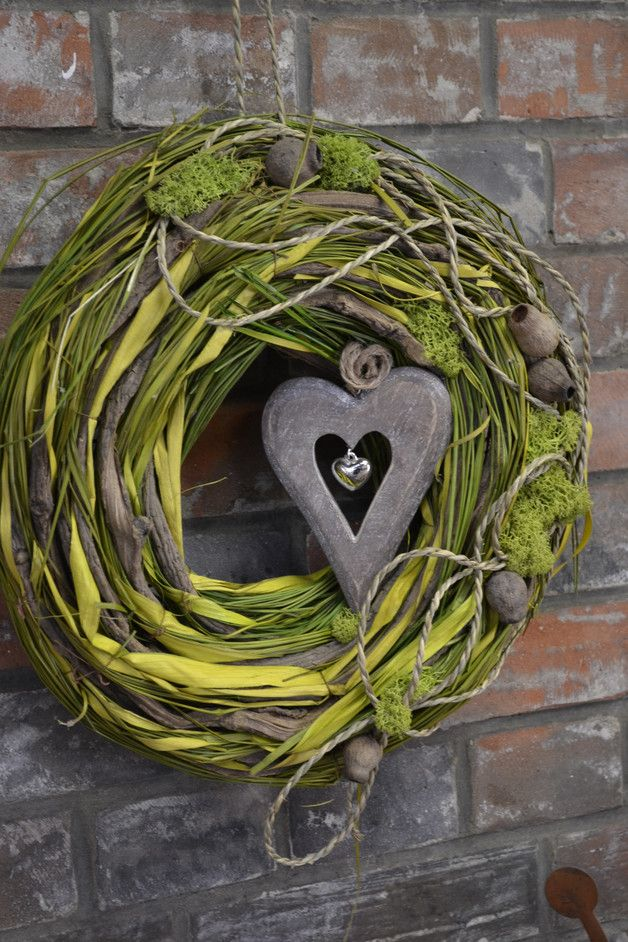Photo of Advent wreath – door wreath-with heart-4 – a unique product by Moneria on DaWanda