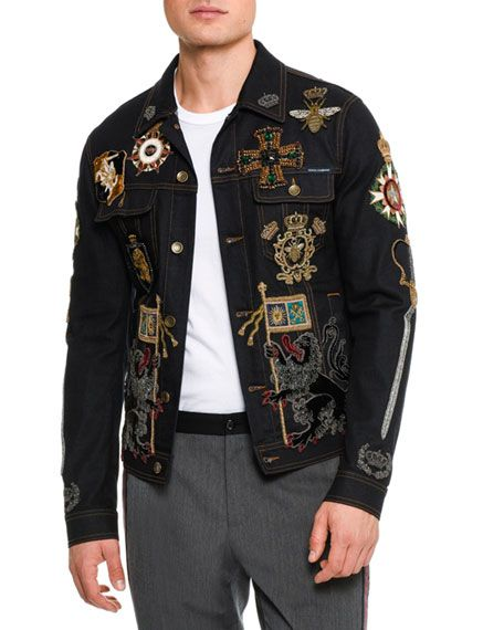96b6f57990 Embroidered Military Denim Jacket with Patches