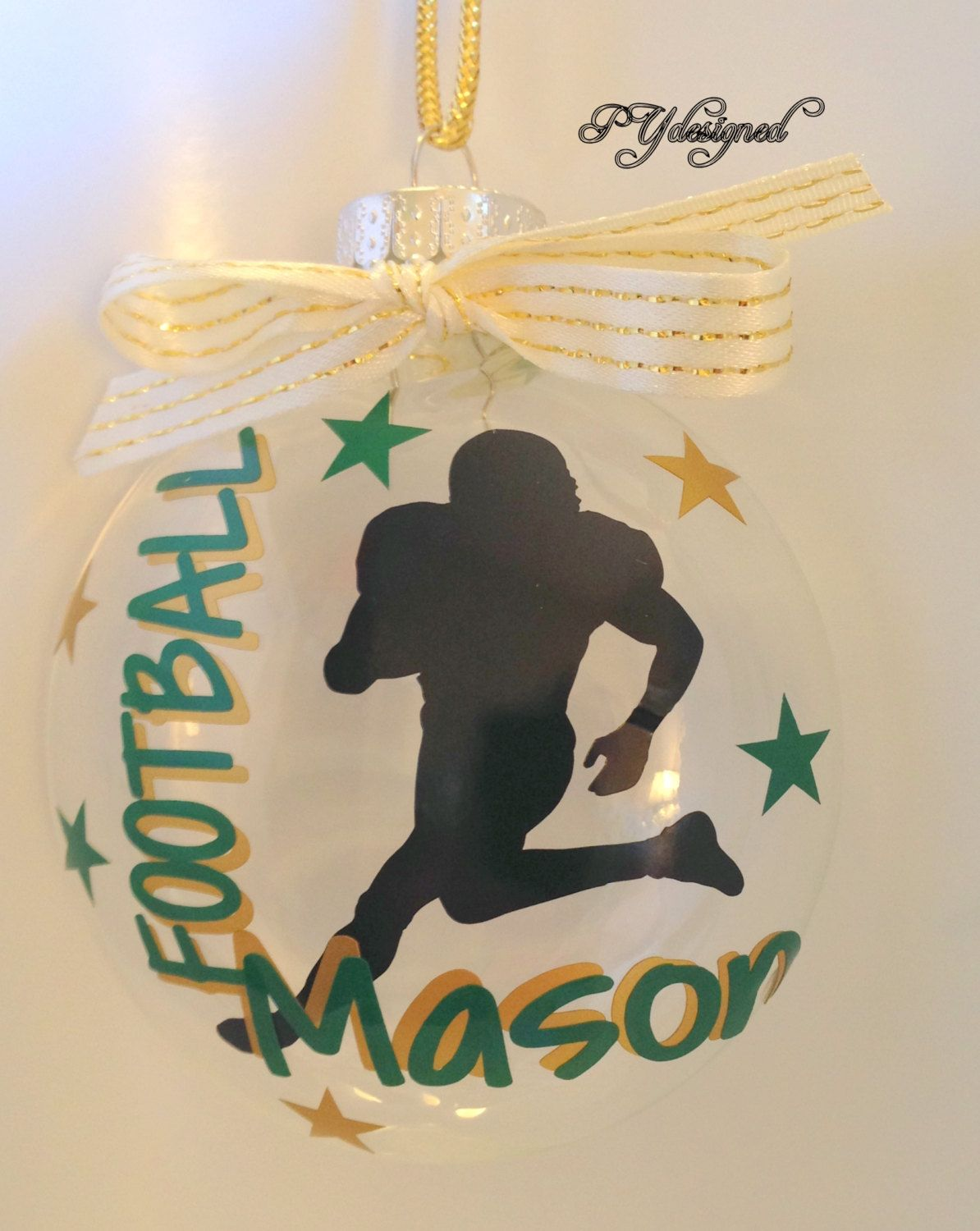 Football player ornament - Football Player Christmas Ornament Personalized With Name Date Bow Gift Box Included By Pydesigned On Etsy