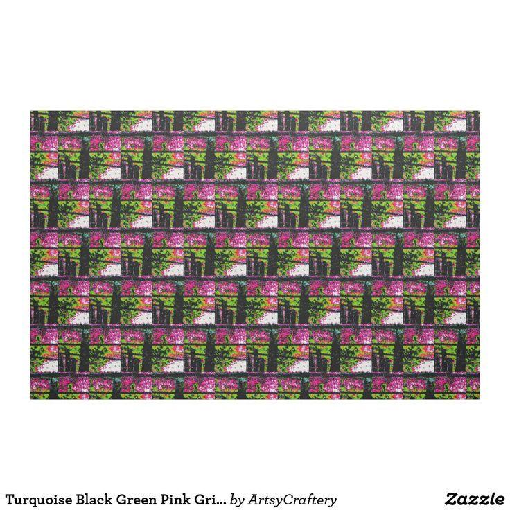 Turquoise Black Green Pink Grid Pattern Fabric Black Fabric Green Grid Inkpaintingonfa Fabric Patterns Printing On Fabric Create Fabrics