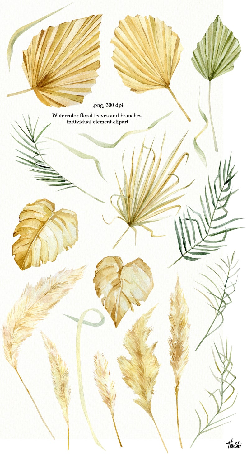 Watercolor Bohemian Floral Set Tropical Dried Palm Gold Leaves Etsy In 2021 Tropical Flowers Illustration Watercolor Leaves Illustration