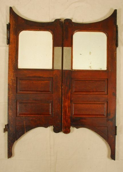 Pair of Antique Saloon Doors - Vintage Swinging Cafe Doors, Handcrafted Aged Wood Saloon Pub
