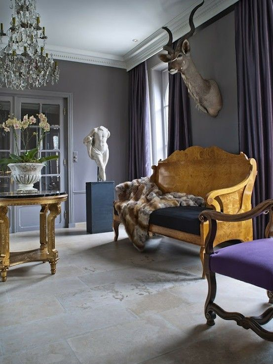 loving this muted grey wall color, especially with purple accents. dark interiors. eclectic glam.