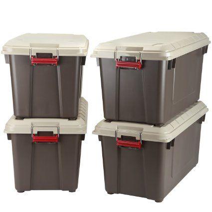 IRIS 4 Piece Weathertight Heavy Duty Storage Tote 218 Gallon
