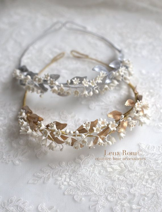 Lily of the valley headpiece. Bridal crown. Gold bridal headpiece ... 1bc87dc52c0