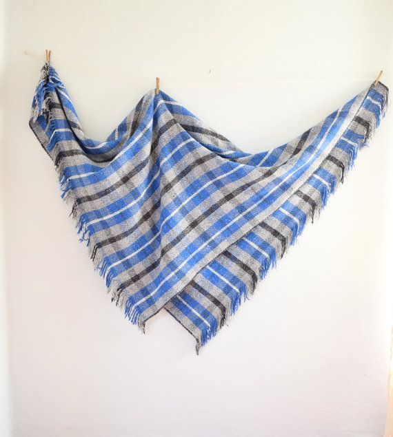 Vintage Plaid Mexican Blanket by thevintagejesus on Etsy