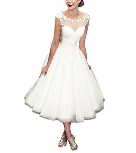 042c8ec7f97 New ABaowedding Women s Elegant Sheer Vintage Short Lace Wedding Dress  Bride Women s Fashion Clothing online.