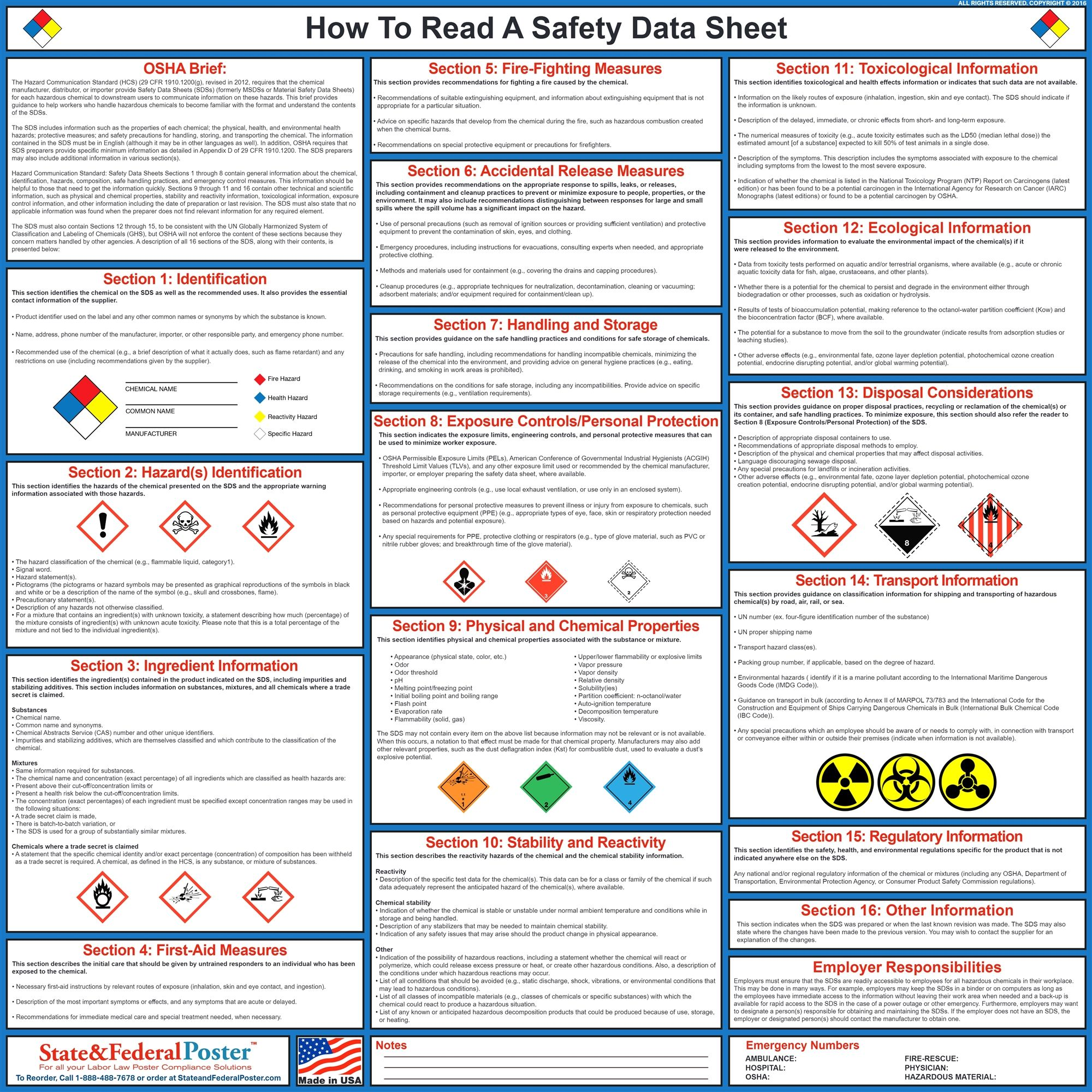 How To Read A Safety Data Sheet Data Sheets Health And Safety