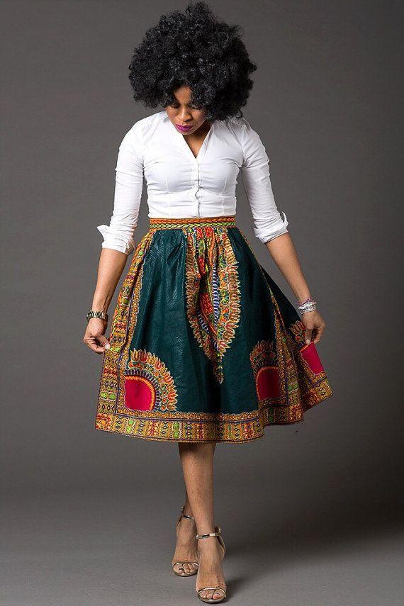 African Print Senegal Midi Dress: African Ankara Midi Lenght High Waist Skirt African Par