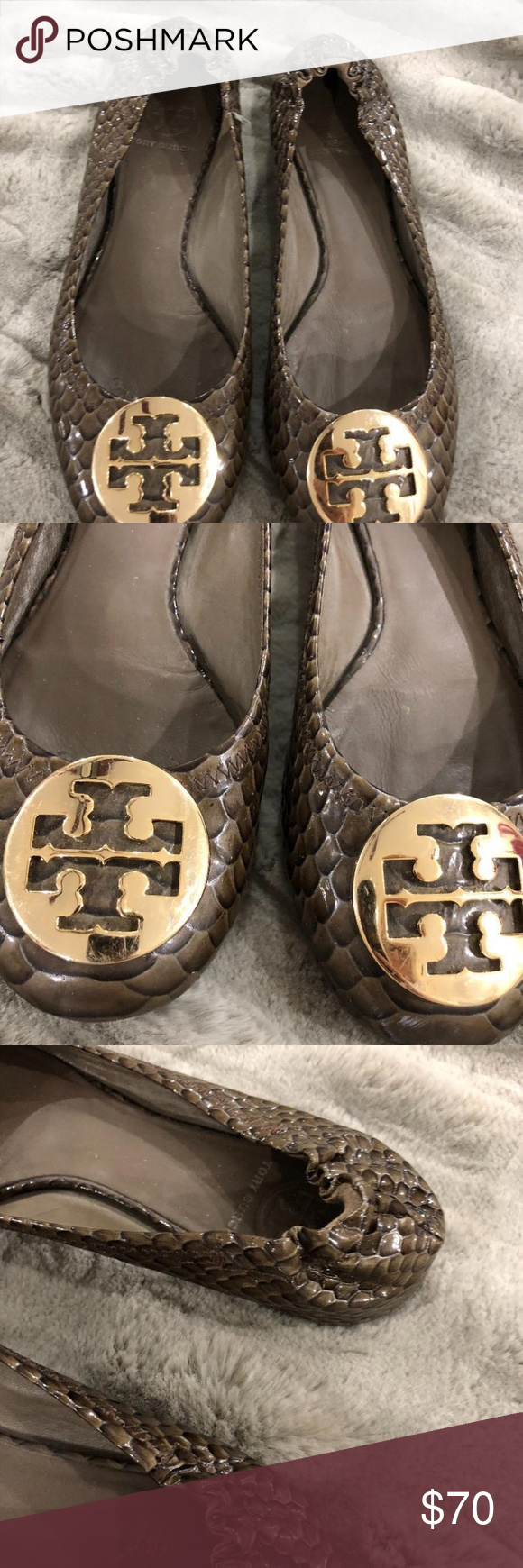 d251ef4431bd TORY BURCH REVA BALLET FLATS SNAKESKIN BROWN These Tory s are in great  condition