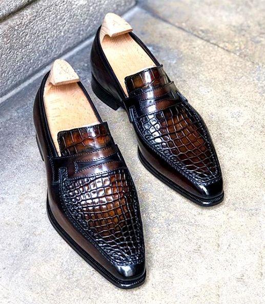 Formal Alligator Leather Loafers Dress Shoes for Men is part of Dress shoes men, Leather shoes men, Alligator dress shoes, Shoes mens, Italian dress shoes, Mens shoes boots - Formal Alligator Leather Loafers Dress Shoes for Men
