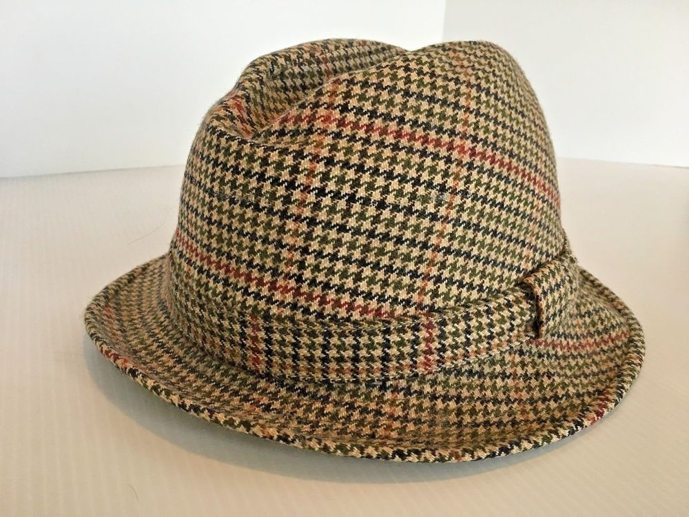 1d9da5e8a55bc Vtg BROOKS BROTHERS Wool Trilby Hat Fedora size 7.5 Brown Tweed England MCM   BrooksBrothers  Fedora