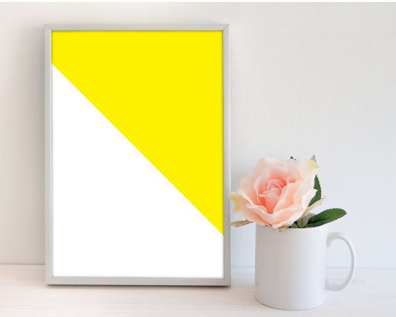 Yellow geometric wall art printable, print your own wall art print, instant digital download, A4 pdf printable poster, printable art