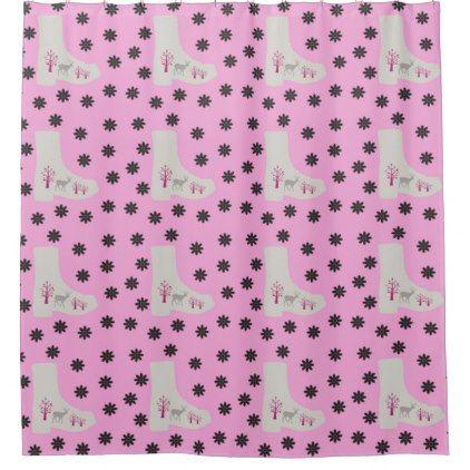 Deer Boots Pink Grey Shower Curtain 6328 By Violetheavensky