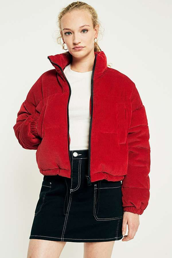 Light Before Dark Red Corduroy Cropped Puffer Jacket in ...
