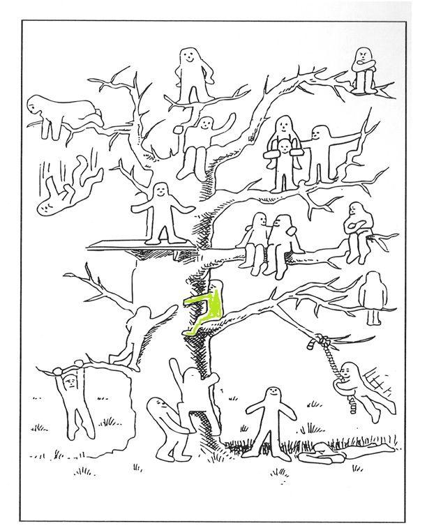 boom met mannetjes gevoelens