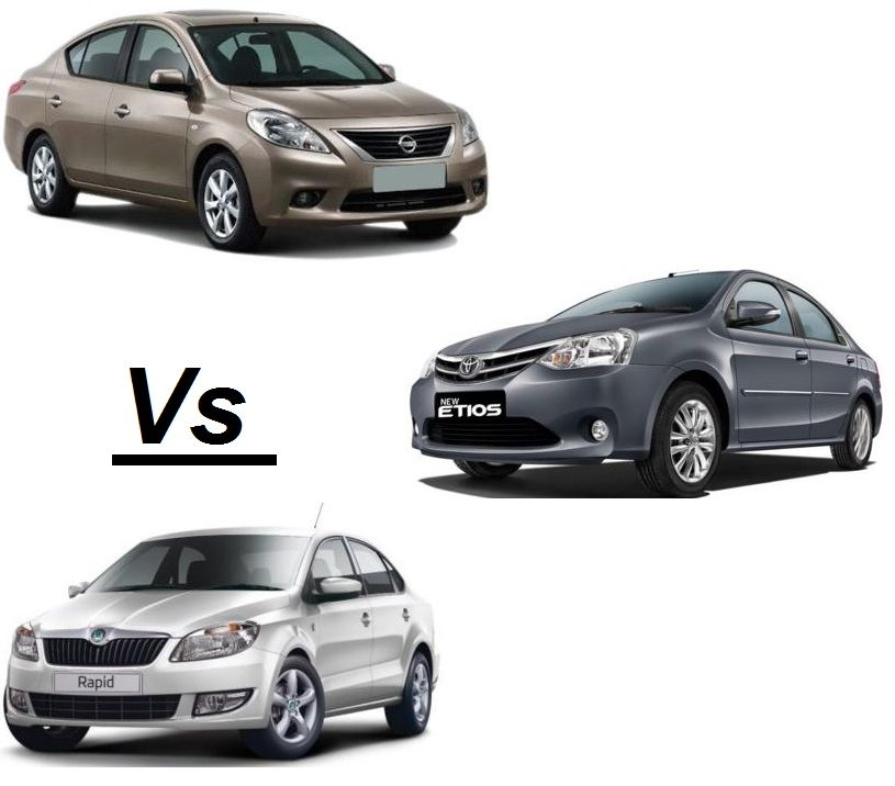 Nissan Sunny Vs Toyota Etios Vs Skoda Rapid Battling Their Way
