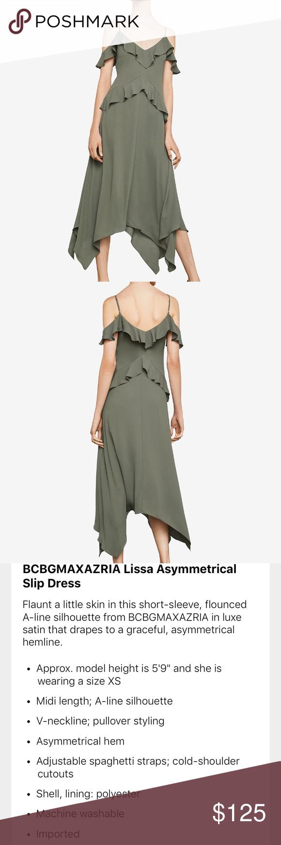 0c5037b7e3ec BCBGMaxazria NWT Asymmetrical Lissa XS Slip Dres Gorgeous green extra small  asymmetrical cold shoulder flutter dress
