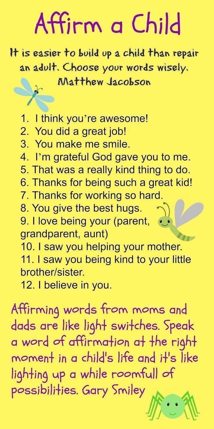 encouraging kids, affirmations for kids, positive words #parenting