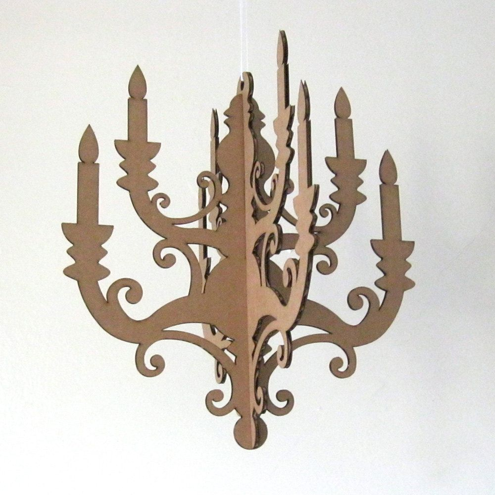 Mini Chandelier Laser Cut Cardboard Diy 10 00 Via