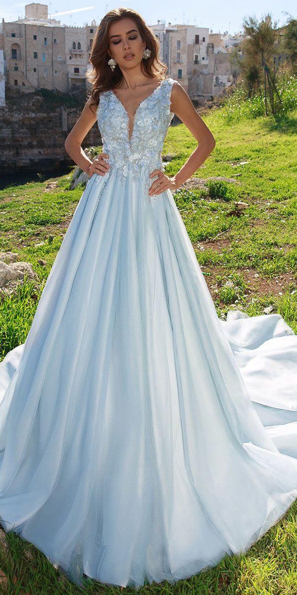 Sleeveless Plunging V-neckline 3D Floral A-line Wedding