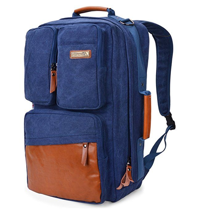 f3a857d7b7d2 WITZMAN Men Retro Canvas Backpack Travel Rucksack Casual Duffel Bag ...