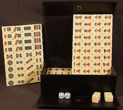 New Pocket Mahjong Travel Kit Paigow Card Game Mah Jongg Chinese 144 Tiles Great