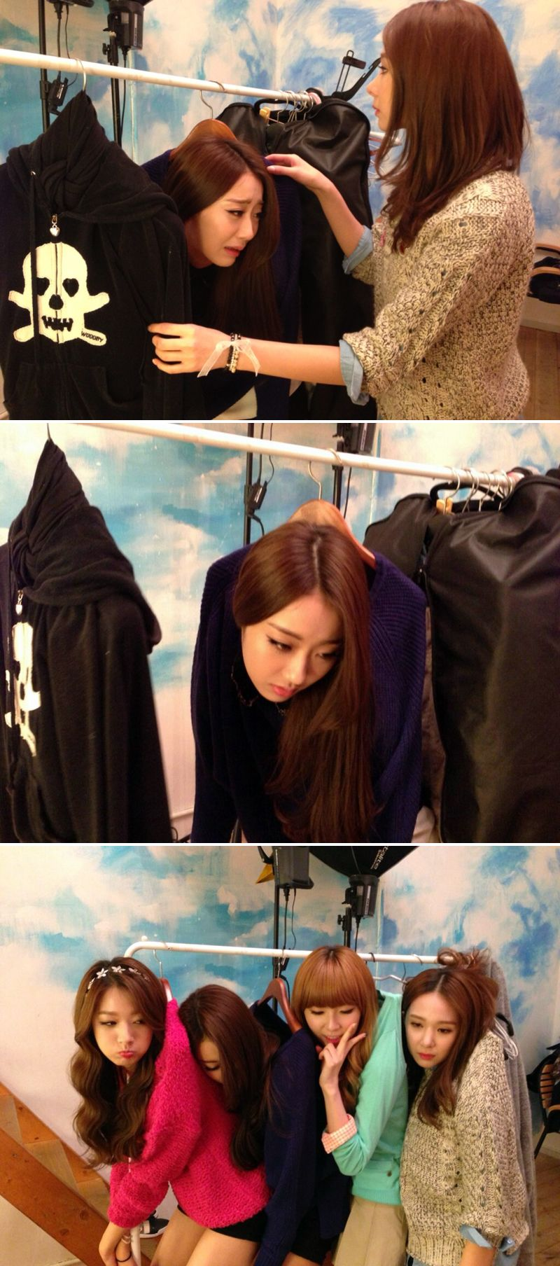 """Nine Muses MinHa, Kyeongree, HyeMi and ERin Hang Themselves on a Clothes Rack / """"Don't Buy Me"""" / APink version > http://www.pinterest.com/pin/397161260860095008/"""