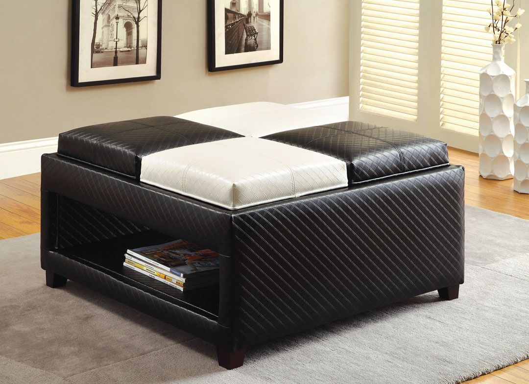 "Reni contemporary style black and white textured leather like vinyl upholstered ottoman bench with flip trays. This set comes with the larger ottoman bench with 4 flip top trays and lower storage area. Ottoman measures 34 1/4"" x 34 1/4"" x 19"" H. Some assembly may be required."