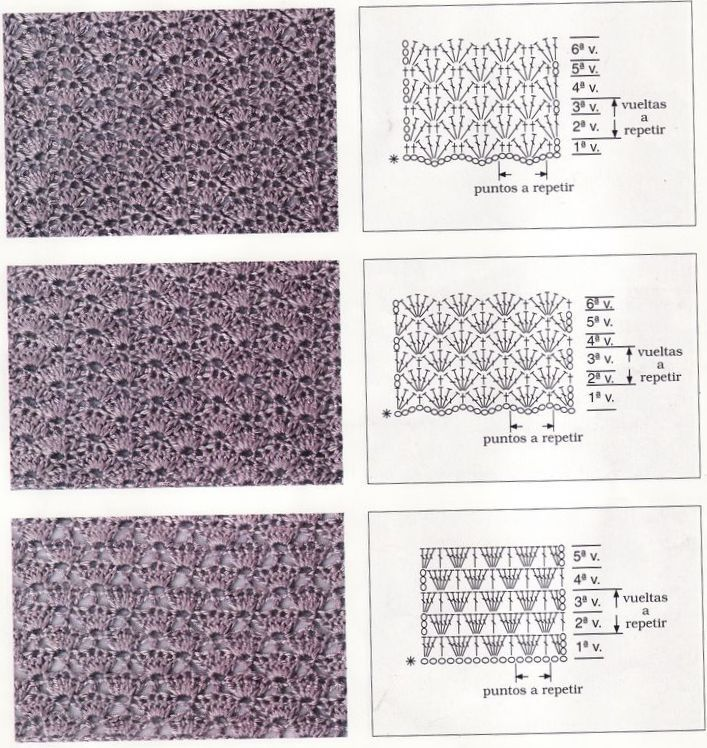 схемы крючком плотное вязание