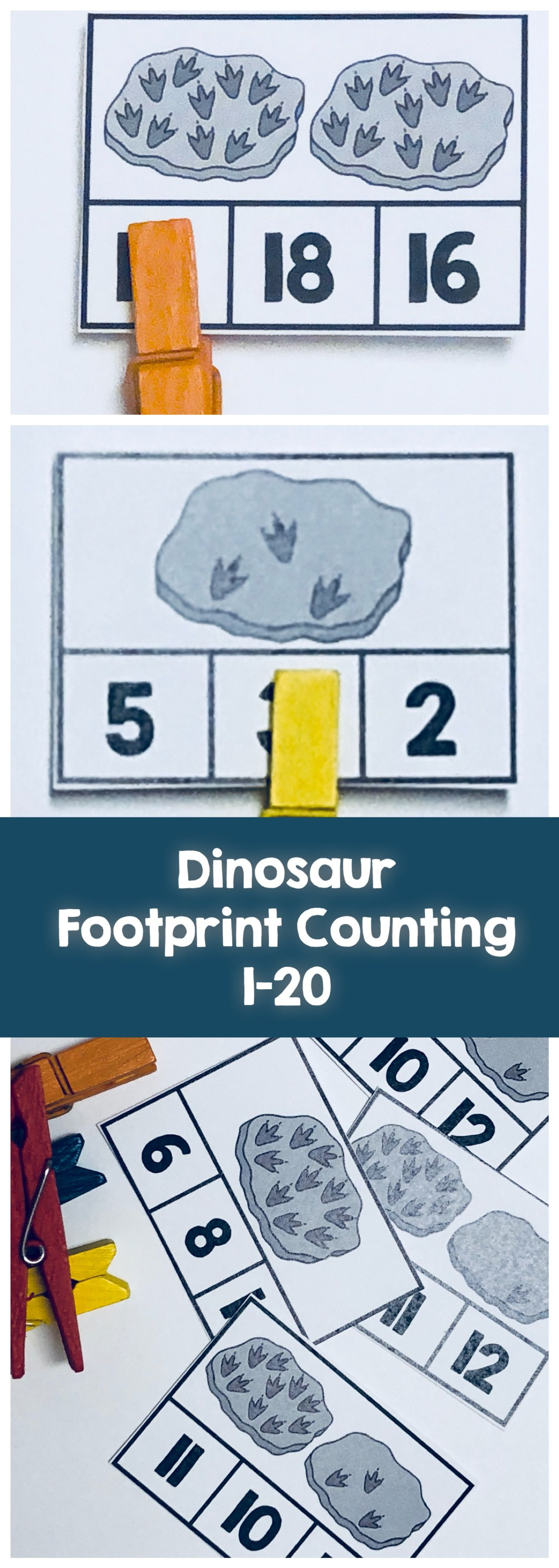Clip Cards 1-20 Dinosaur Prints Counting | *Dinosaurs Theme ...