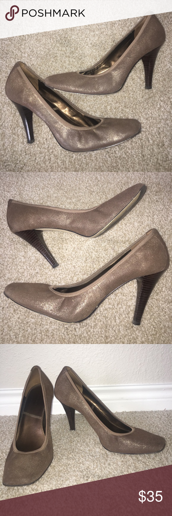 Tahari Pumps Heels Metallic Bronze Fabric Size 10 Worn twice.  Minor scuffs at back of heels, see pics.  Heel is 3.25 inches.  Style name is Ta-Enya and color is brush brass.  Comes with box. Tahari Shoes Heels