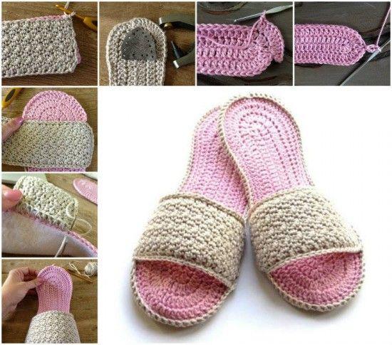 Knitting Shoes Tutorial : Flip flop crochet slippers free pattern video tutorial