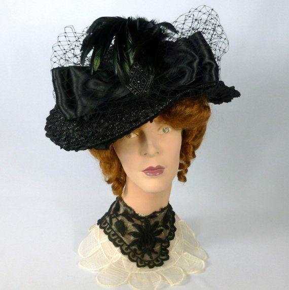 Reproduction Black Straw Victorian Edwardian Hat Vintage Etsy Edwardian Hat Hats Vintage Edwardian