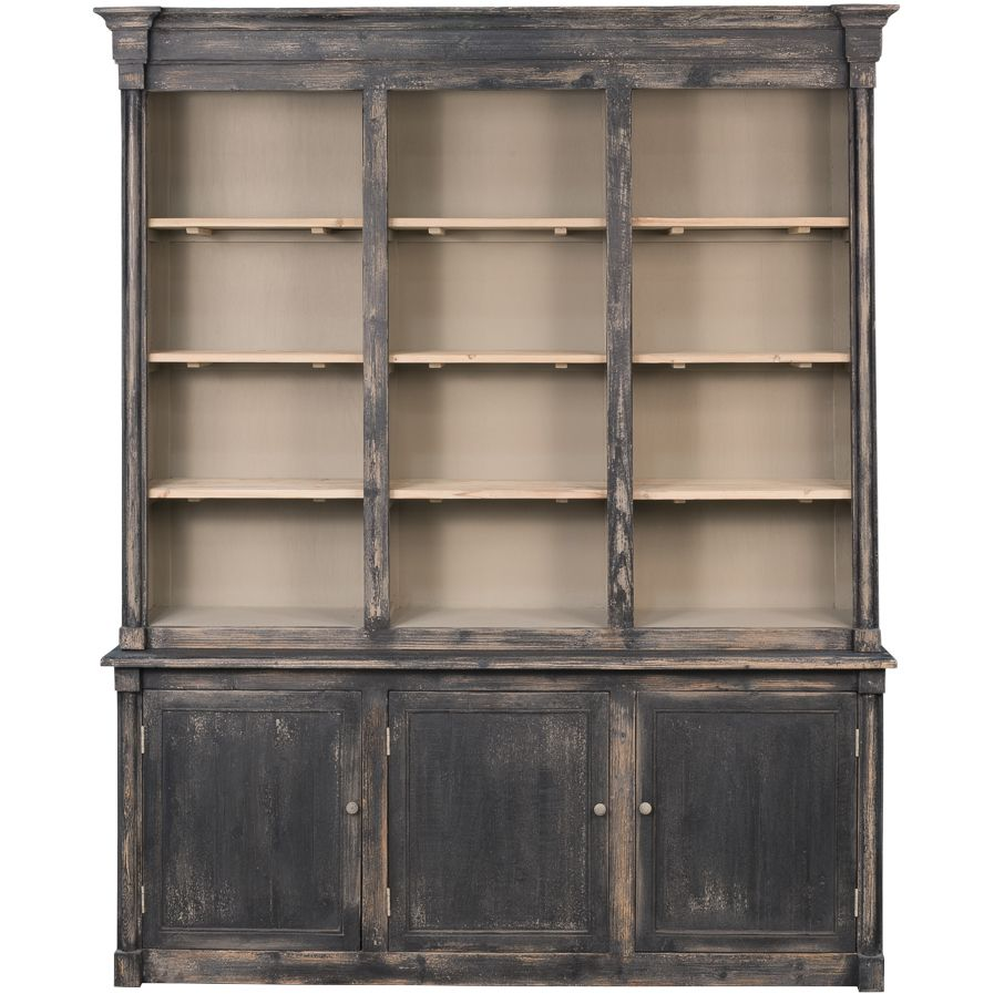 Reclaimed Black Tan Wash Pine Wood Cabinet Bookcase 75 039 X 91 H