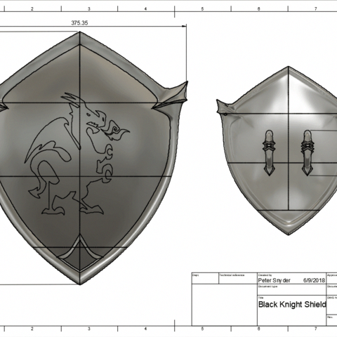 3d Print Files Black Knight Shield Fortnite Villainouspropshop 3dprinting Knight Shield Blackest Knight Fortnite