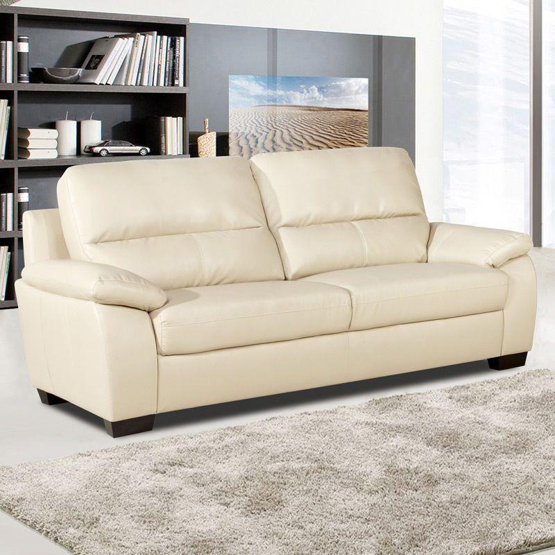 Knightsbridge Large 3 Seater Ivory Cream Leather Sofa Pocket