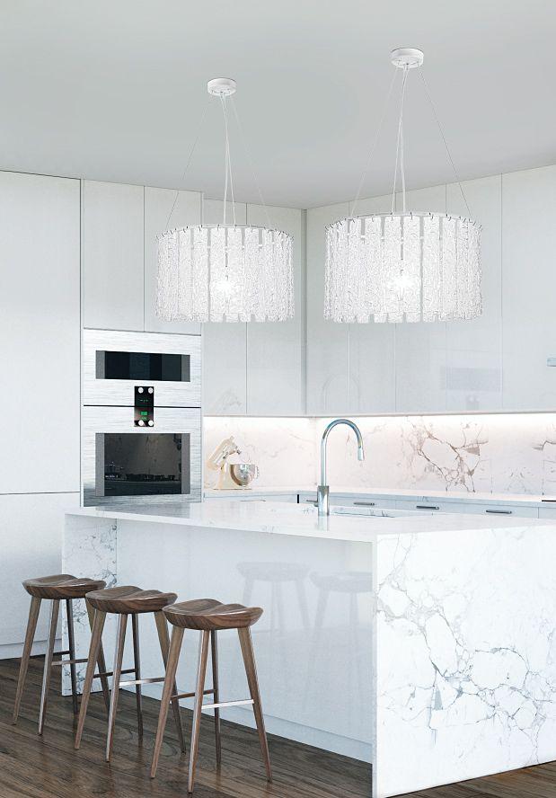 BIEFFE Lighting - Suspension lamps in white PULEGOSO Murano glass ...