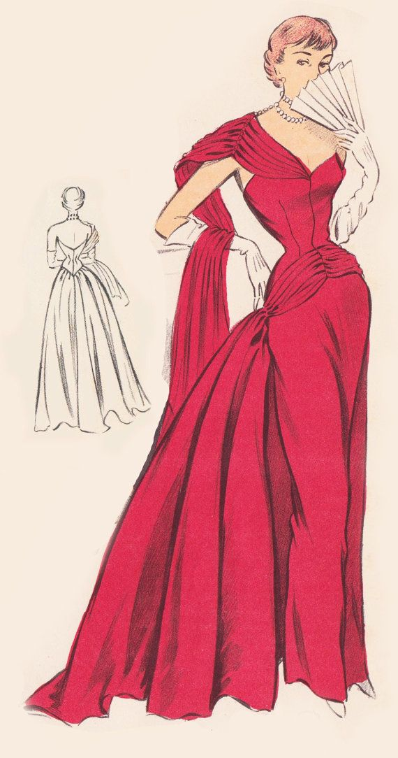 Vintage Sewing Pattern 1950s Evening Ball Gown In Any Size Plus Size Included Depew 5712 Instant Download Fashion Illustration Vintage Vintage Dress Patterns Fashion