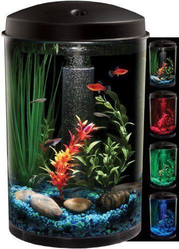 New 3 Gallon Round Aquarium Kit Led Glow Light Fish Bowl Filter Air Pump Tank Aquarium Aquarium Kit Fish Tank