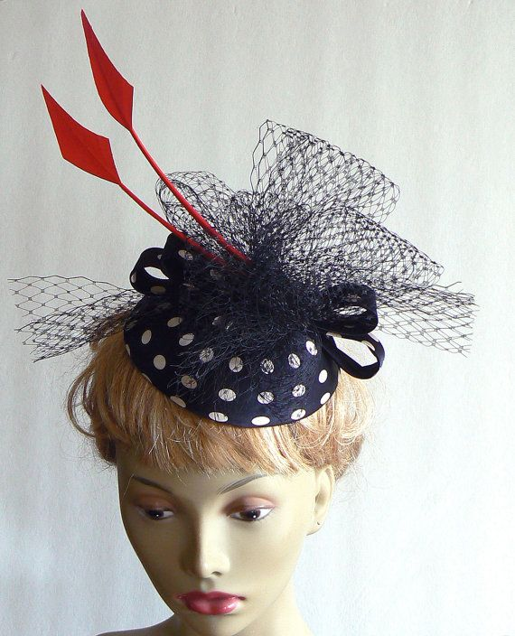 Fun Kentucky Derby Hat: Black And White Polka Dot Kentucy Derby Hat By