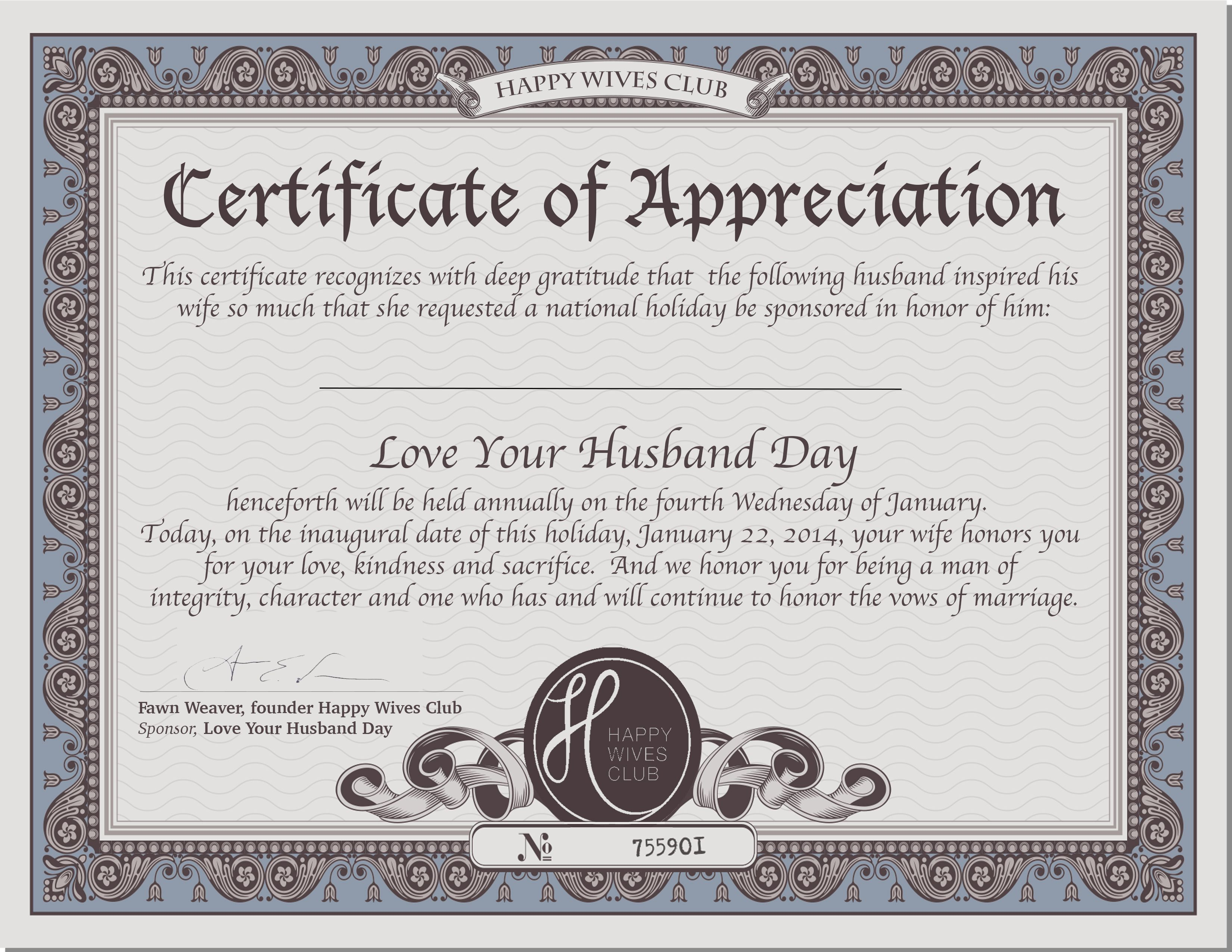 CertificateofAppreciation – National Love Your Husband Day Husband