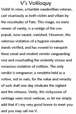 justice in v for vendetta This presentation outlines some of the film techniques dealt with in one of the  closing scenes of v for vendetta it's aim is to help scaffold writing.