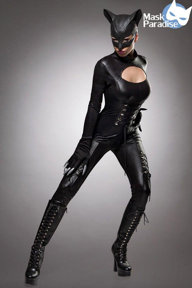 Hot Overall Catwoman Komplettset Kostumset Karneval Fasching Kostum