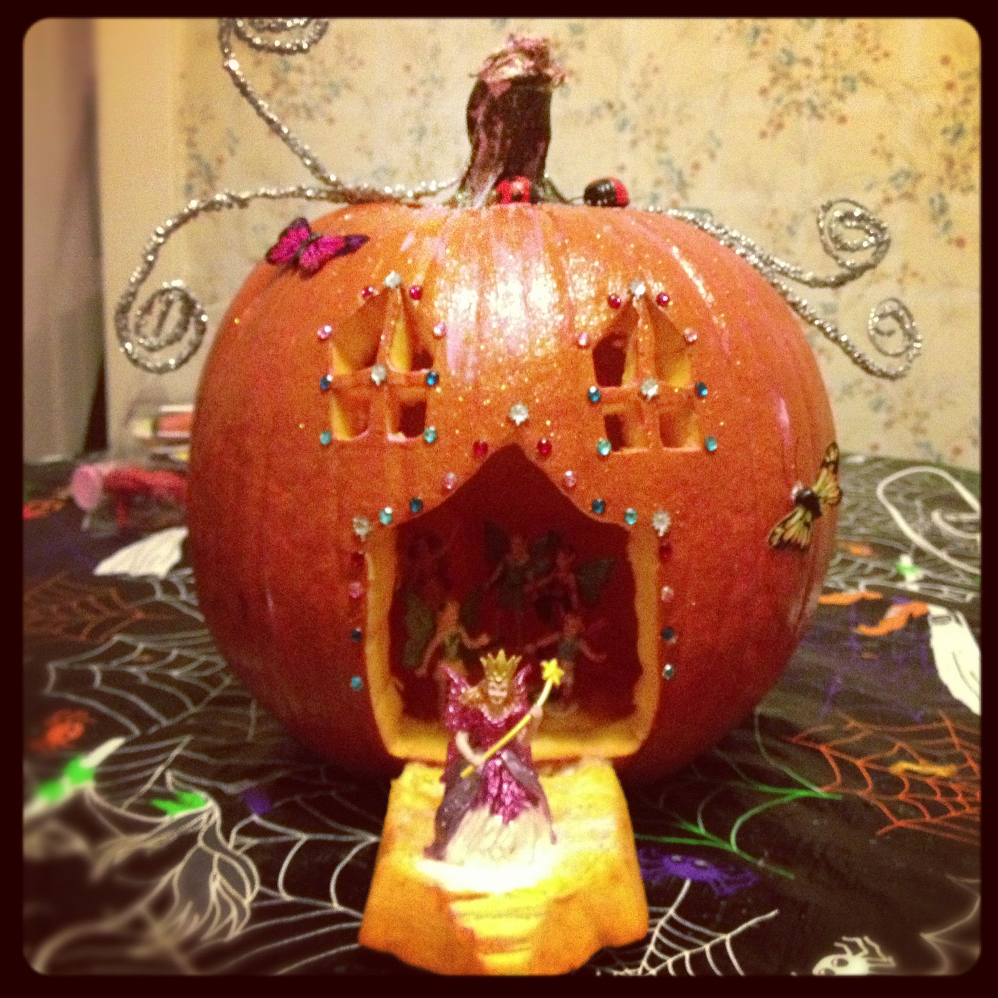 My Carved Fairy House Pumpkin I Created As An Entry For A Pumpkin Decorating Contest At Work 1st Halloween Fairy Garden Pumpkin Fairy House Pumpkin Decorating