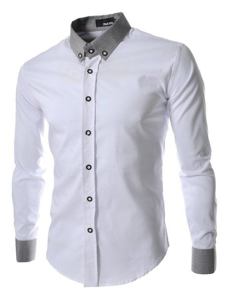 Camisas Suaves Ocasionales de Lino de los Hombres de Manga Larga Color Sólido Fino Slim Up Roll Up Manga Camisa M-4XL bBHHHhuB2n
