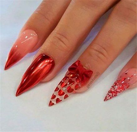 best red stiletto nails bling ideas in 2020  red chrome