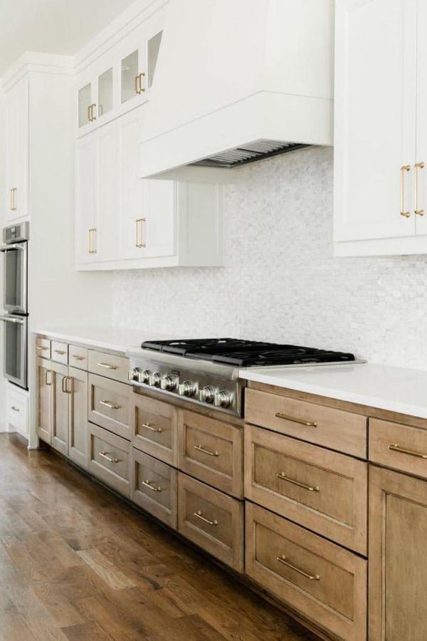 33 Popular Painted Kitchen Cabinets Two Tone Design Ideas In 2020 Kitchen Design Natural Wood Kitchen Kitchen Renovation