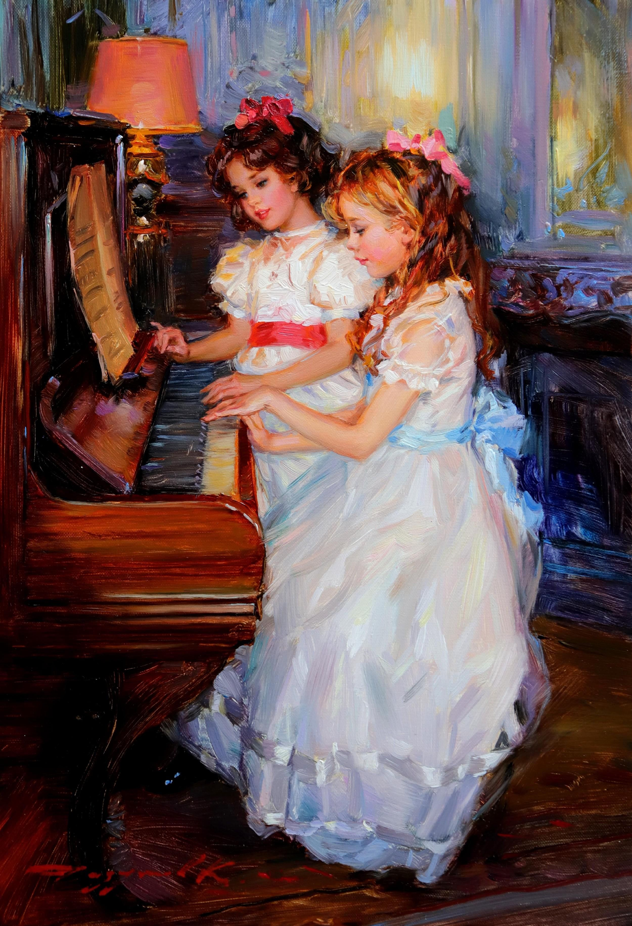 Oil painting portraits beautiful young girl playing piano /& angel in landscape