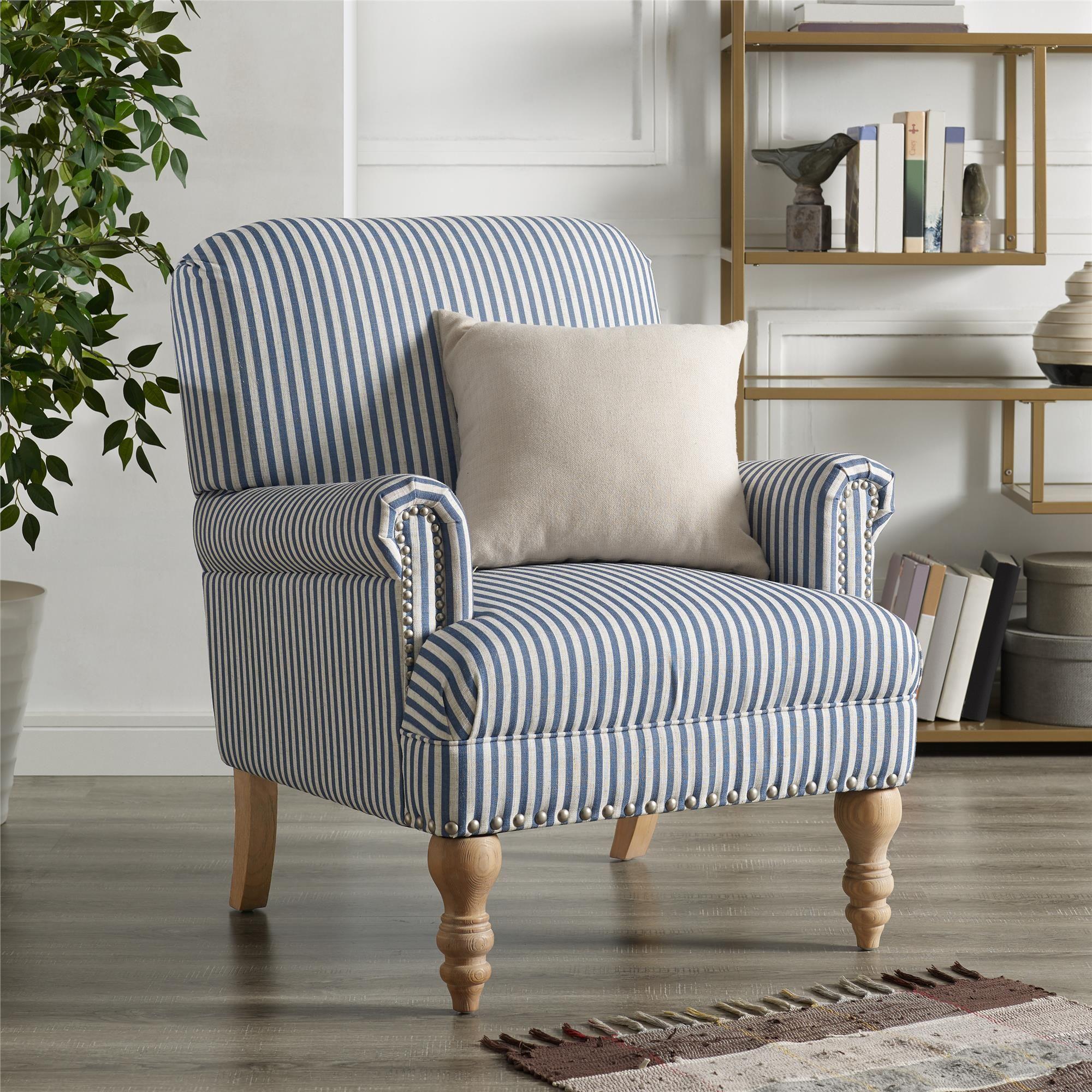 Dorel Living Jaya Accent Chair Living Room Armchairs Blue Stripe Walmart Com In 2021 Blue Accent Chairs Dorel Living Stripe Accent Chair